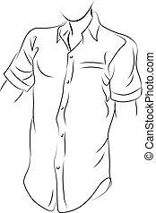 chemise noire, simple, ligne, blanc