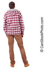 chemise plaid, vue, dos, capuchon, looking., type
