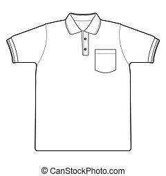 chemise, polo, vecteur, contour