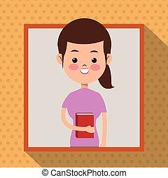 chemise rose, étudiant, cadre, livre, fond, girl, ombre, point
