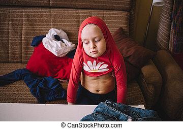 chemise, rouges, percé, enfant, robes