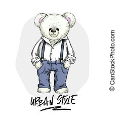 chemise, teddy, pantalons blancs, ours