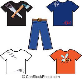 chemises, coloré, pantalon