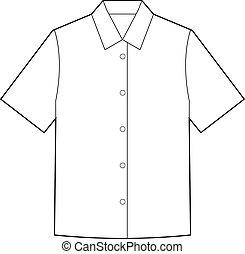 chemises, gabarit, manche, mode, dessin, court, plat, technique