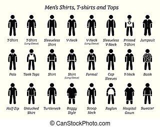 chemises, hommes, tops., t-shirts