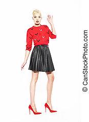 chemisier, charmant, femme, jupe noire, rouges