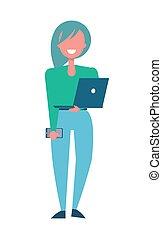 chemisier, femme, ordinateur portable, vert, joli, mains