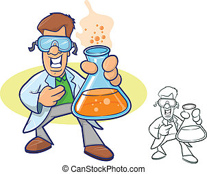 Chemist Cartoon - Illustration of a smiling chemist wearing...