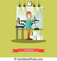 Chemist concept vector illustration in flat style