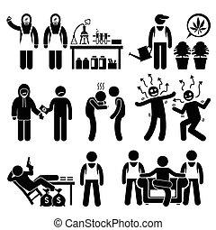 Human pictogram showing illegal drug syndicate cooking meths, planting marijuana, and organize crime.