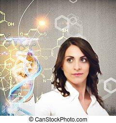 Woman chemist explain chemical formulas in laboratory