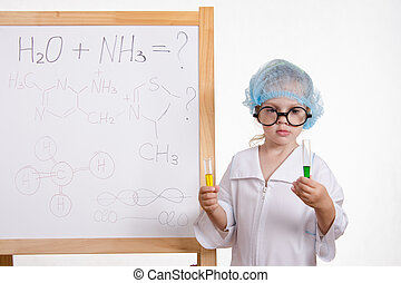 Chemist girl in points and with two tubes at board