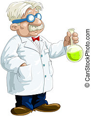 Chemist with the flask in his hand