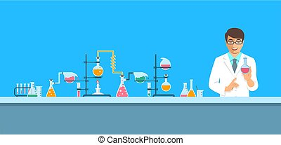 Chemist in chemical laboratory vector background