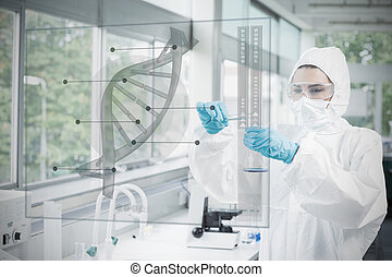 Chemist in protective suit working with futuristic interface...