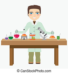 Chemist in the laboratory. - Man chemist do experiment in...