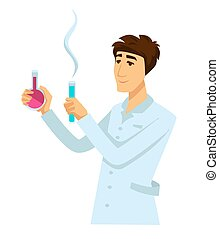 Chemist in work robe with two flasks full of reagents. ...
