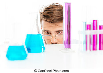 Chemist is analyzing sample