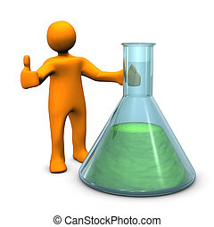 Chemist OK - Orange cartoon character with test tube with OK...