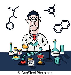 Chemist work in a laboratory. Professor conducts synthesis with distillation. Illustration Vector