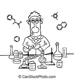 Chemist work in a laboratory. Professor conducts synthesis with distillation. Only the contour of the picture