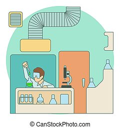 Chemist working in laboratory concept, flat style - Chemist...