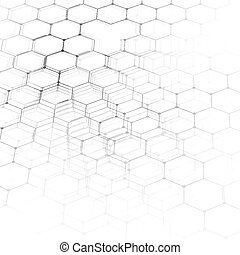 Chemistry 3D pattern, hexagonal molecule structure on white, scientific medical DNA research. Medicine, science and technology concept. Motion design. Geometric abstract background.