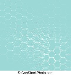 Chemistry 3D pattern, hexagonal molecule structure on blue, scientific medical DNA research. Medicine, science and technology concept. Motion design. Geometric abstract background.