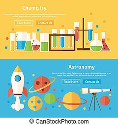 Chemistry and Astronomy Science Flat Website Banners Set