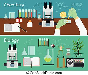 Chemistry and biology research vector banners set