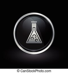 Chemistry beaker icon inside round silver and black emblem
