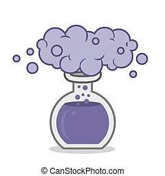 Chemistry beaker with purple smoke reaction