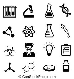 Chemistry, biology science icon set