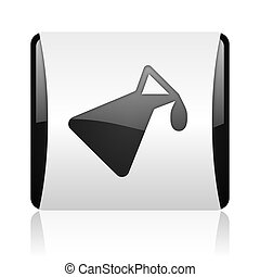 chemistry black and white square web glossy icon