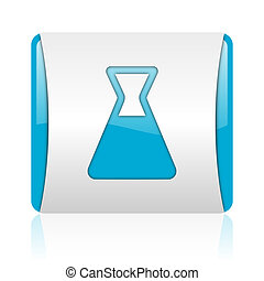 chemistry blue and white square web glossy icon