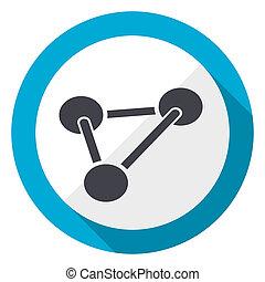 Chemistry blue flat design web icon