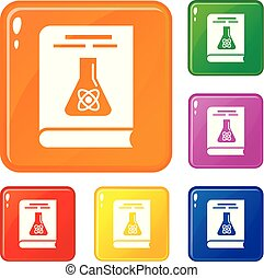 Chemistry books icons set vector color