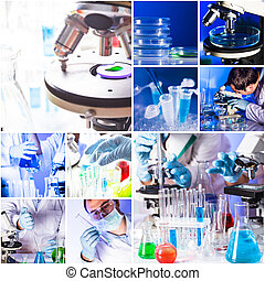 Chemistry collage from ten photos about reseach