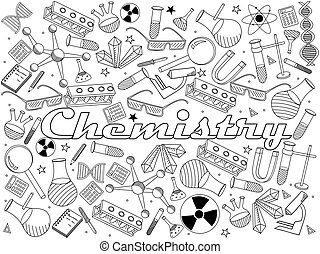 chemistry coloring book vector illustration - Chemistry Coloring Book