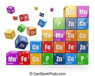 Chemistry concept. Wall from cubes wiyh periodic table of...