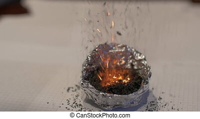 Chemistry demonstration with volcano experiment - Close-up...
