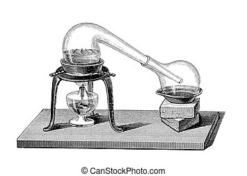 Chemistry: distillation by alembic - Engraving from an old...