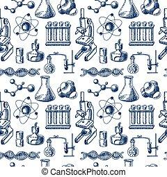 Chemistry equipment sketch seamless - Decorative scientific...