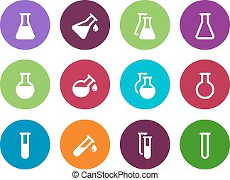 Chemistry flask circle icons on white background. Vector...