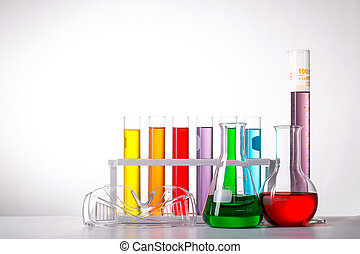 Chemistry flask glassware for test laboratory.