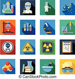 Chemistry Flat Icons Set In Colorful Squares