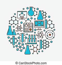 Chemistry flat round illustration
