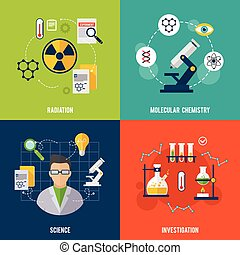 Chemistry Flat Set - Chemistry design concept set with...