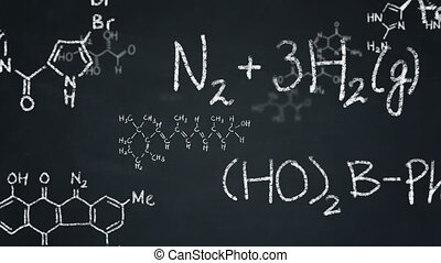 Chemistry formulas on chalkboard - Various organic...
