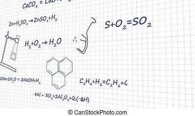 Chemistry formulas on white background graphic animation